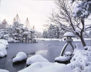 Viajar a Japon Jardín Kenroku Invierno Kanazawa
